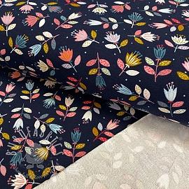 Sweat fabric GOTS Flowers navy