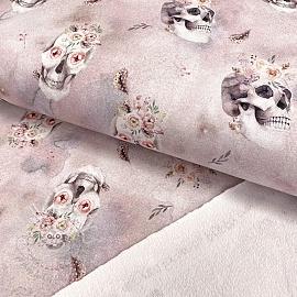 Sweat fabric GOTS Skull light rose digital print