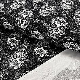 Sweat fabric GOTS Skulls black