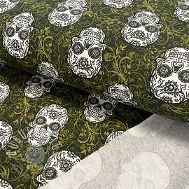 Sweat fabric GOTS Skulls dark green