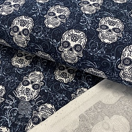 Sweat fabric GOTS Skulls navy