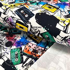 Sweat fabric HEAVY Graffiti white digital print