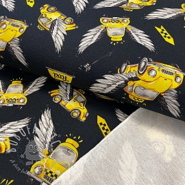 Sweat fabric HEAVY Taxi black digital print