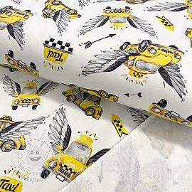 Sweat fabric HEAVY Taxi white digital print