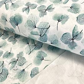 Sweat fabric Leaves white digital print