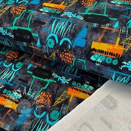 Sweat fabric Vehicles navy digital print