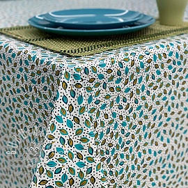 Tablecloth Fabric PVC ALIZE ecru vert