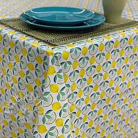 Tablecloth Fabric PVC LEMON white