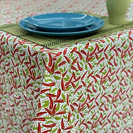 Tablecloth Fabric PVC PIMENTS blanc