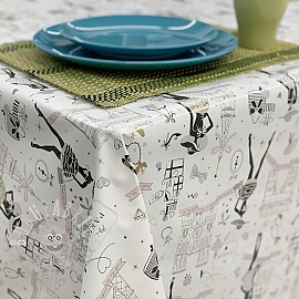 Tablecloth Fabric PVC RIVOLI blanc