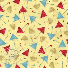 Cotton fabric THE GIFT OF FRIENDSHIP Umbrellas pale avocado