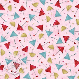 Cotton fabric THE GIFT OF FRIENDSHIP Umbrellas pink