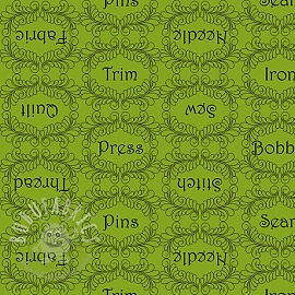 Cotton fabric THE QUILTED COTTAGE Sewing words lime