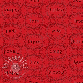 Cotton fabric THE QUILTED COTTAGE Sewing words red