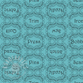 Cotton fabric THE QUILTED COTTAGE Sewing words turquoise