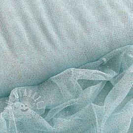 Tulle netting ROYAL SPARKLE light blue gold