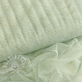 Tulle netting ROYAL SPARKLE mint gold