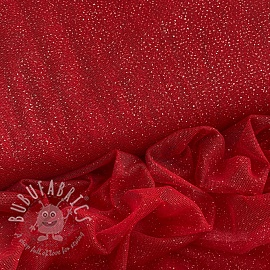 Tulle netting ROYAL SPARKLE red silver