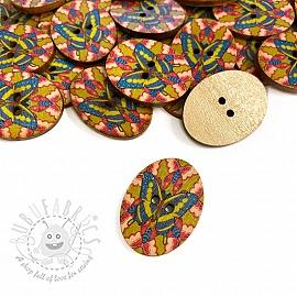 Wooden button Butterfly cobalt