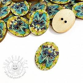 Wooden button Butterfly light blue