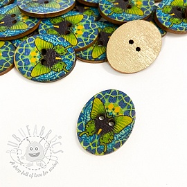 Wooden button Butterfly lime