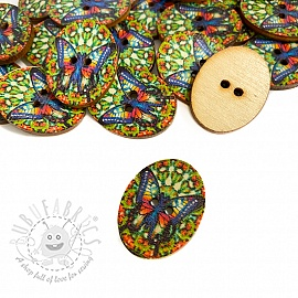 Wooden button Butterfly multi