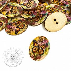 Wooden button Butterfly ochre