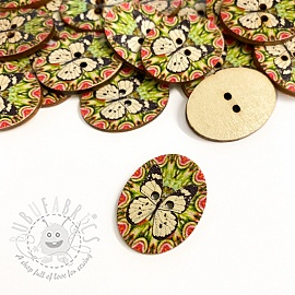 Wooden button Butterfly off white