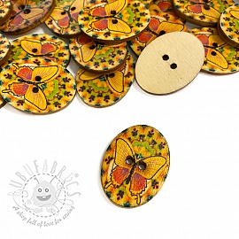 Wooden button Butterfly yellow