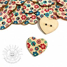 Wooden button Heart Buttercup