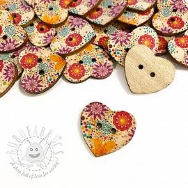 Wooden button Heart Gerbera