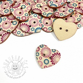 Wooden button Heart Magnolia
