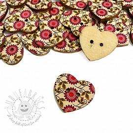 Wooden button Heart Sunflower