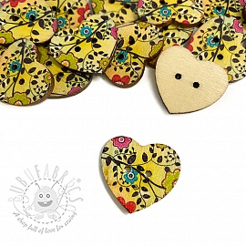 Wooden button Heart Twig