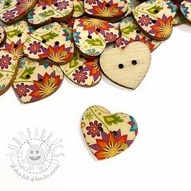 Wooden button Heart Zinnia
