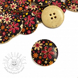 Wooden button Round Butterfly