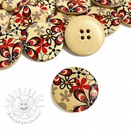 Wooden button Round Daisy