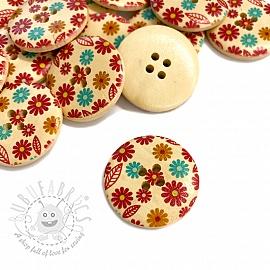 Wooden button Round Gerbera