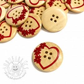 Wooden button Round Heart