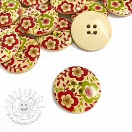 Wooden button Round Little Flower