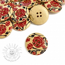 Wooden button Round Rose